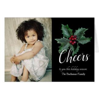 Cartão com fotos elegante do azevinho do Natal