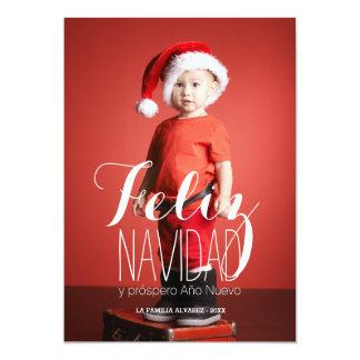 Cartão com fotos espanhol do feriado de Feliz Convite 12.7 X 17.78cm