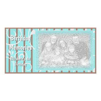 Cartão com fotos feito sob encomenda Brown azul da