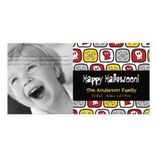 Cartão com fotos feliz do Dia das Bruxas dos ossos Cartão Com Foto