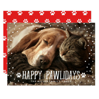 Cartão com fotos feliz do feriado de Pawlidays |