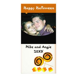 Cartão com fotos feliz dos cumprimentos dos doces