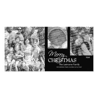 Cartão com fotos: Feliz Natal preto & branco Cartão Com Foto