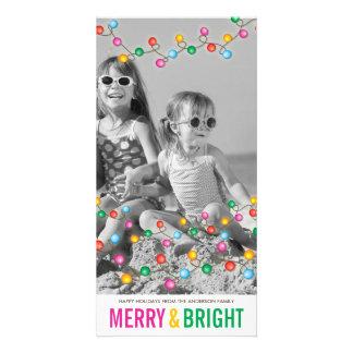 Cartão com fotos festivo colorido do feriado do cartão com foto
