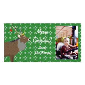 Cartão com fotos festivo do verde do Natal dos alc