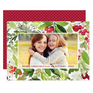 Cartão Cartão com fotos floral da aguarela do Natal  