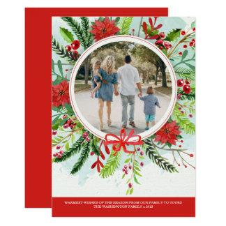 Cartão com fotos floral da poinsétia do feriado do