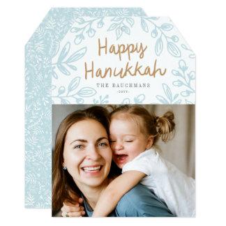 Cartão com fotos floral de Hanukkah da colheita