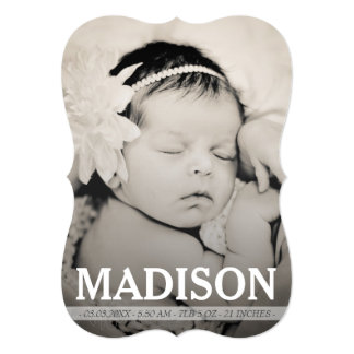 Cartão com fotos floral do anúncio do nascimento convites personalizado