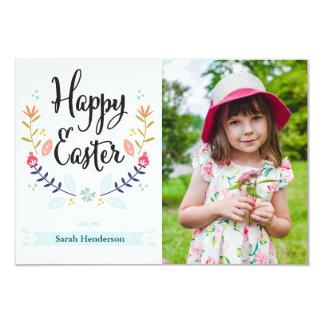 Cartão com fotos floral do felz pascoa convite 8.89 x 12.7cm