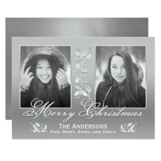 Cartão com fotos floral do feriado do roteiro convite 12.7 x 17.78cm