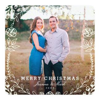 Cartão com fotos floral doce do feriado convite quadrado 13.35 x 13.35cm