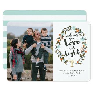 Cartão com fotos floral festivo de Hanukkah