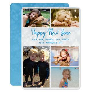 Cartão com fotos grande da família do feliz ano