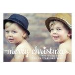 Cartão com fotos grande do Feliz Natal moderno Convites Personalizados