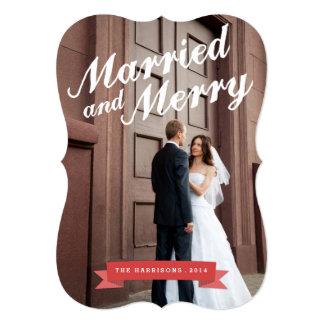 Cartão com fotos grande moderno do feriado casado convite 12.7 x 17.78cm