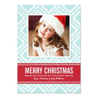 Cartão com fotos Ikat vermelho e azul de   do Convite 12.7 X 17.78cm