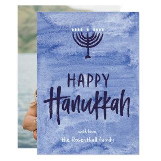 Cartão com fotos liso de Menorah Hanukkah da