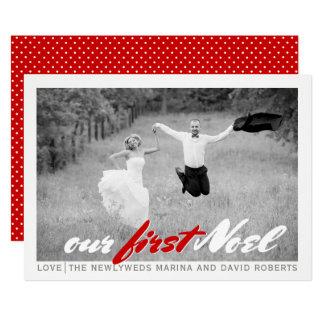 Cartão com fotos liso vermelho do Natal moderno do
