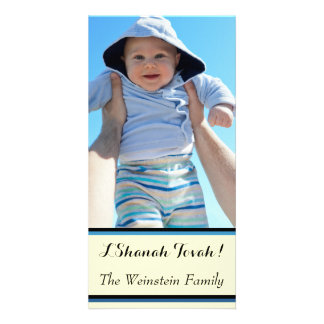 Cartão com fotos listrado de Rosh Hashanah