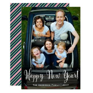 Cartão com fotos listrado do ano novo convite 12.7 x 17.78cm