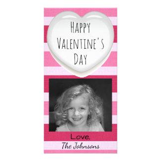 Cartão com fotos listrado do rosa e o branco do