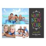 Cartão com fotos lunático do feriado do feliz ano  convites personalizados