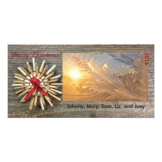 Cartão com fotos lustroso do Natal rústico Cartão Com Foto