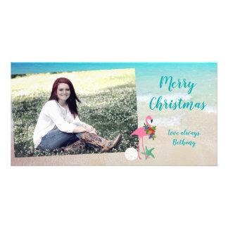 Cartão com fotos lustroso longo do Natal do