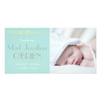 Cartão com fotos macio do anúncio do nascimento cartão com foto