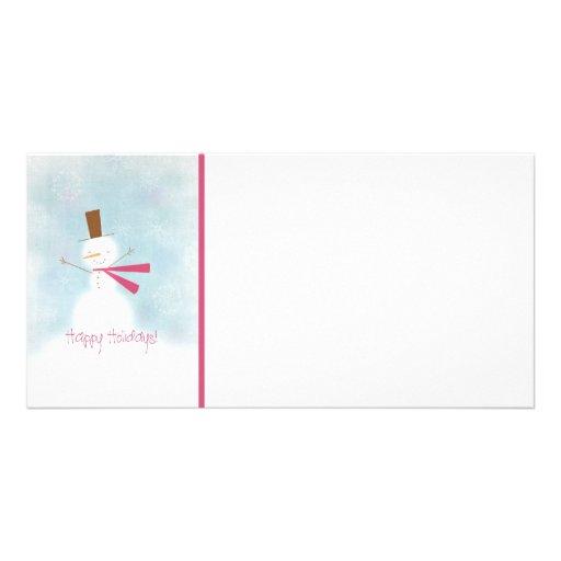 Cartão com fotos macio do feriado do boneco de nev