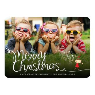 Cartão com fotos mágico do feriado do duende do convite 12.7 x 17.78cm