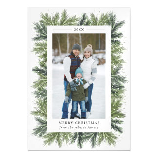 Cartão com fotos magnético dos pinhos nevado