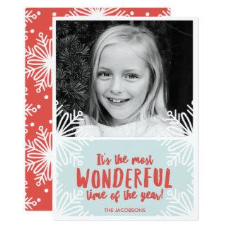 Cartão com fotos maravilhoso do floco de neve do convite 12.7 x 17.78cm