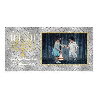 """Cartão com fotos """"Menorah elegante """" de Hanukkah"""