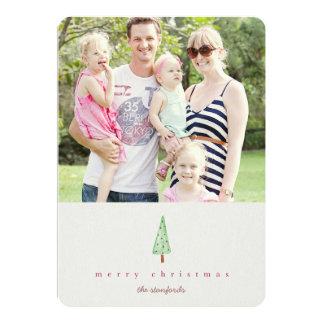 Cartão com fotos moderno da árvore de Natal Convite 12.7 X 17.78cm