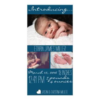 Cartão com fotos moderno do anúncio do nascimento cartão com foto