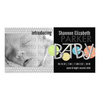 Cartão com fotos moderno do anúncio do nascimento