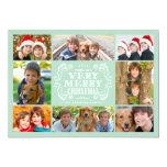 Cartão com fotos moderno dos feriados da hortelã & convite personalizados
