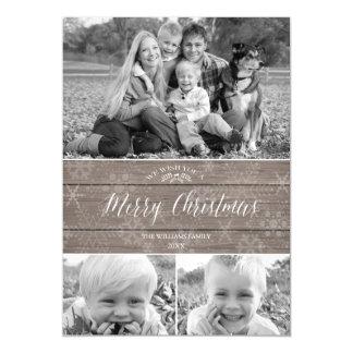 Cartão com fotos Natal-Magnético rústico