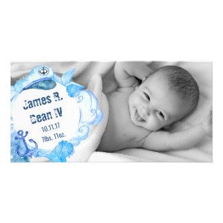 Cartão com fotos náutico do anúncio do bebê do cartão com foto