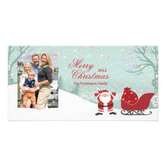 Cartão com fotos nevando personalizado do trenó do