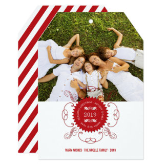 Cartão com fotos ornamentado do feriado do selo