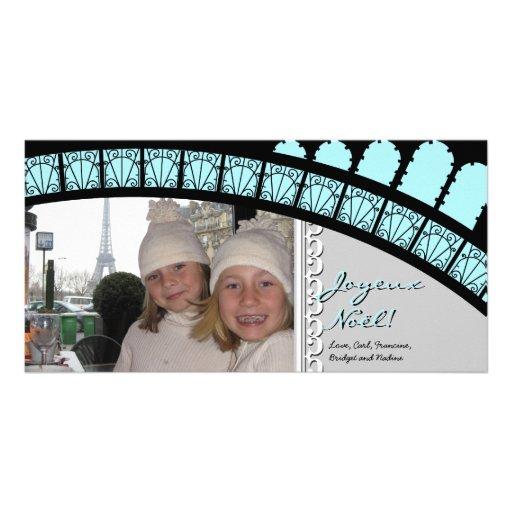 Cartão com fotos parisiense do feriado do arco