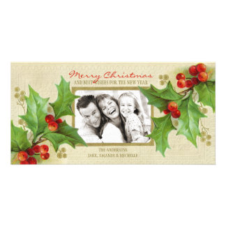 Cartão com fotos personalizado azevinho do natal