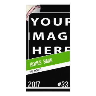 Cartão com fotos personalizado do basebol
