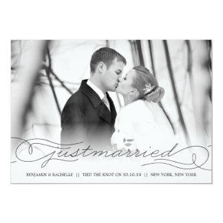 Cartão com fotos preto do anúncio do casamento do convite 12.7 x 17.78cm