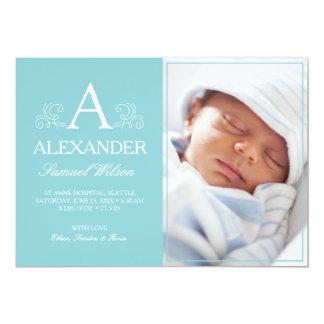Cartão com fotos recém-nascido do azul do anúncio convite 12.7 x 17.78cm