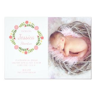Cartão com fotos recém-nascido do rosa do anúncio convite 12.7 x 17.78cm