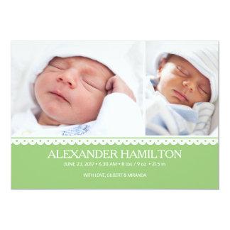 Cartão com fotos recém-nascido do verde do anúncio convite 12.7 x 17.78cm